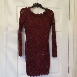 Sequin hearts small burgundy prom/homecoming dress